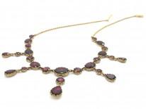 Edwardian Flat Cut Almandine Garnet Necklace in Original Case