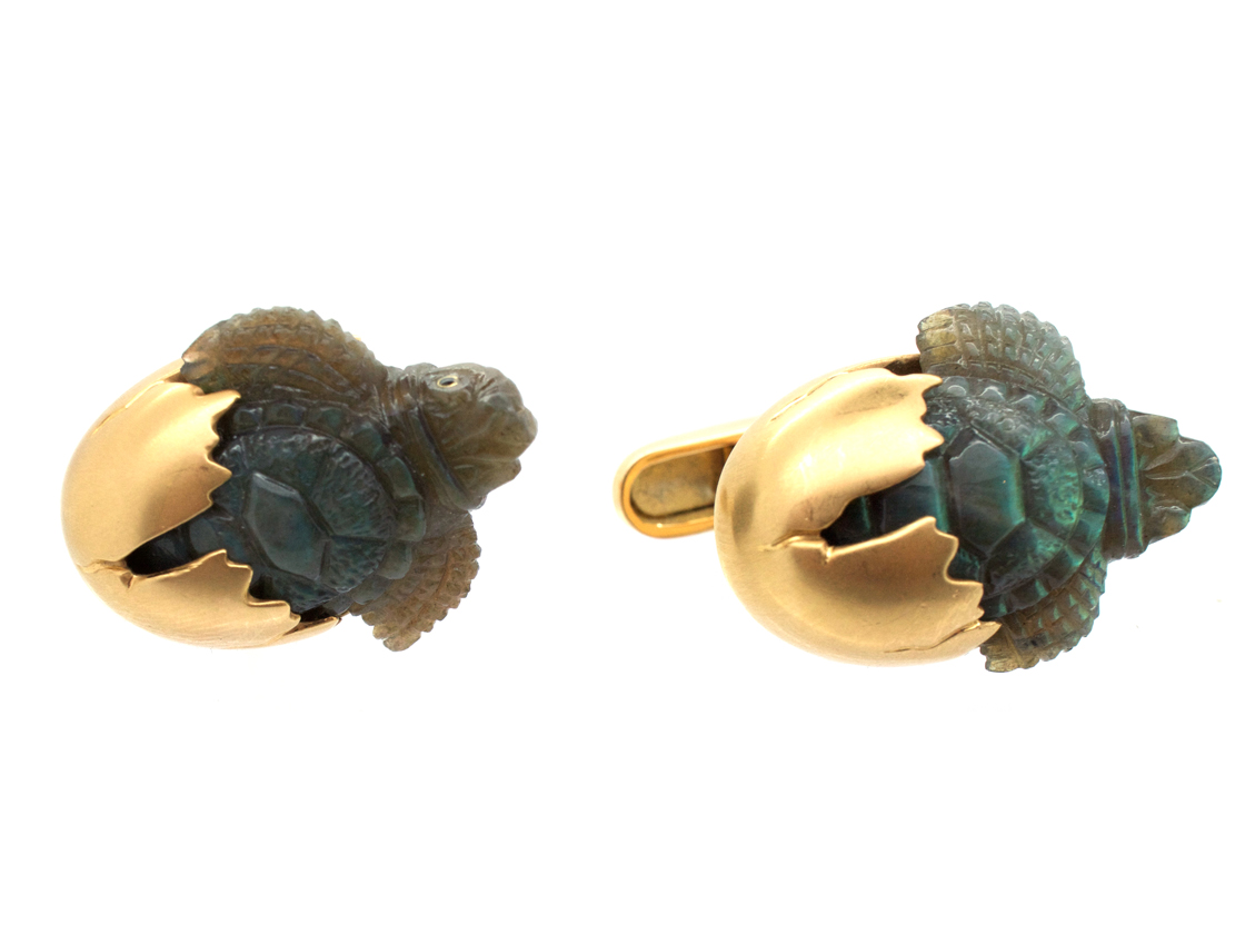 18ct Gold & Labradorite Baby Turtles Coming out of Their Shells Cufflinks