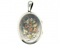 Victorian Silver & Gold Overlay Oval Locket with Flowers Motif
