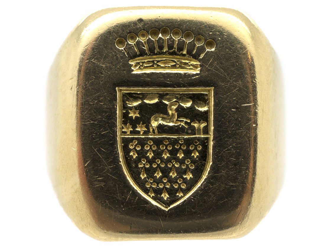 18ct Gold Signet Ring with Crowned Coat of Arms