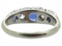 Victorian Sapphire & Diamond Carved Half Hoop Ring