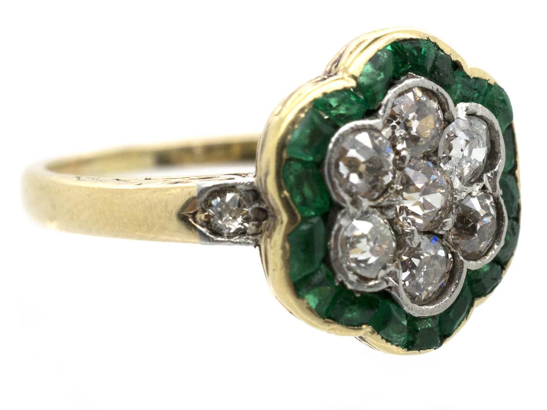 Edwardian 18ct Gold Emerald & Diamond Cluster Ring
