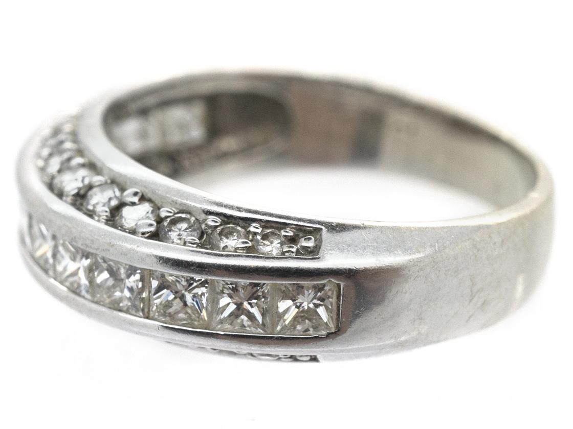 18ct White Gold Diamond Three Row Ring