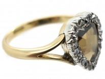 Edwardian 18ct Gold & Brown Zircon Heart Shaped Ring