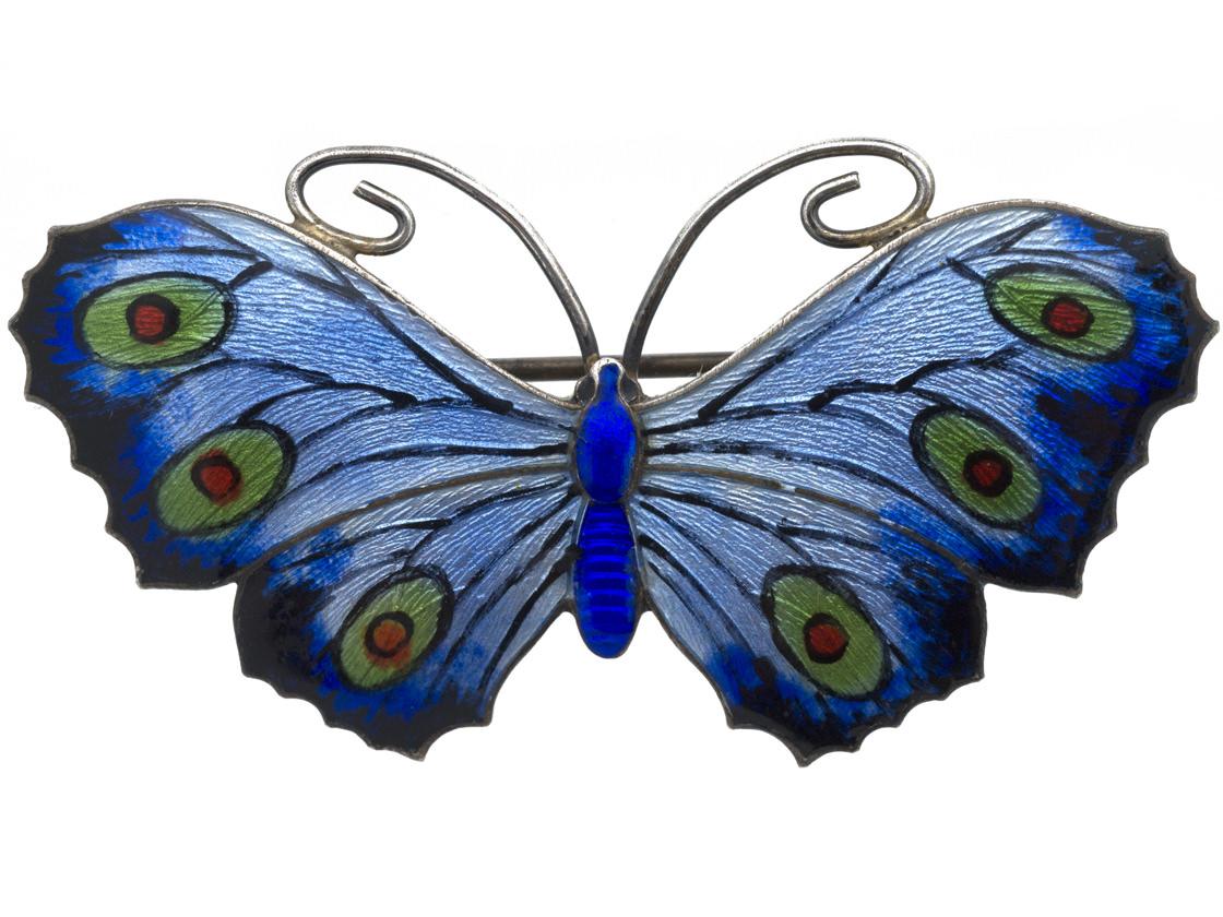 English Silver, Blue & Green Enamel Butterfly Brooch