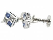 Art Deco Diamond & Sapphire Diamond Shaped Earrings