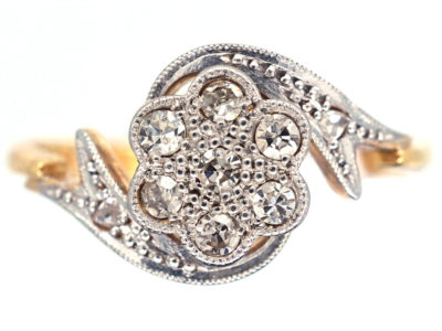 Edwardian Diamond Cluster Ring with Ribbon Sides