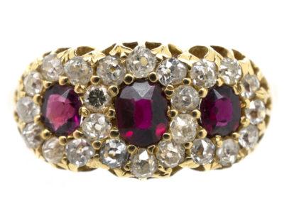 Victorian Ruby & Diamond Triple Cluster Ring