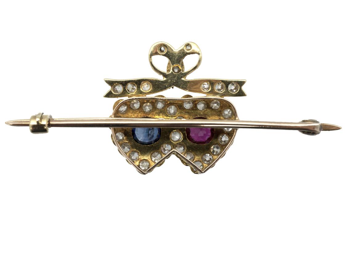 Edwardian 15ct Gold Sapphire, Ruby & Diamond Double Heart Brooch