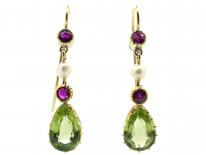 15ct Gold Suffragette Ruby Peridot & Natural Pearl Earrings