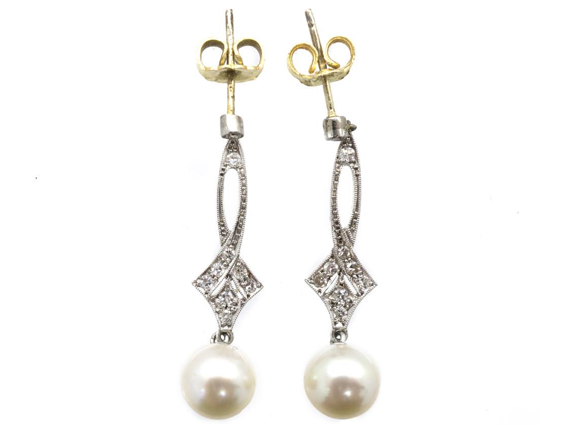 Edwardian Platinum, Diamond & Pearl Drop Earrings