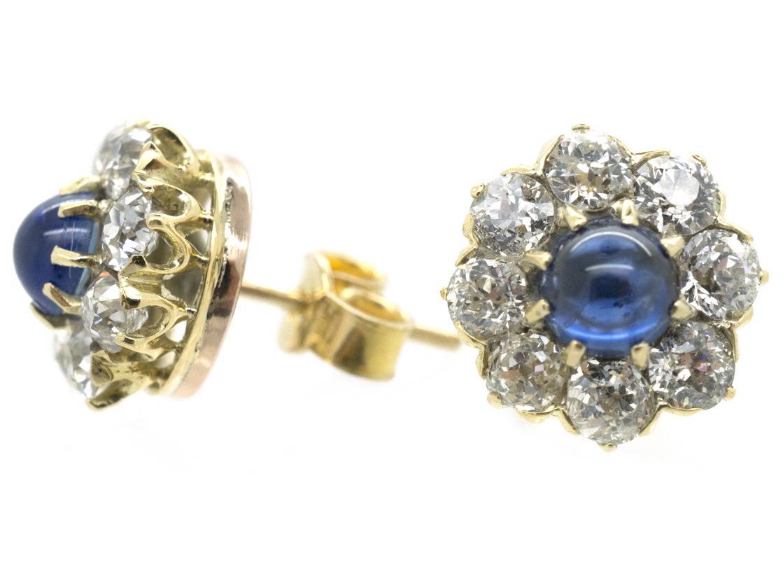Cabochon Sapphire & Diamond Cluster Earrings