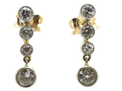 Edwardian Four Stone Diamond Drop Earrings