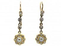 Victorian 18ct Gold Diamond & Natural Split Pearl Drop Earrings