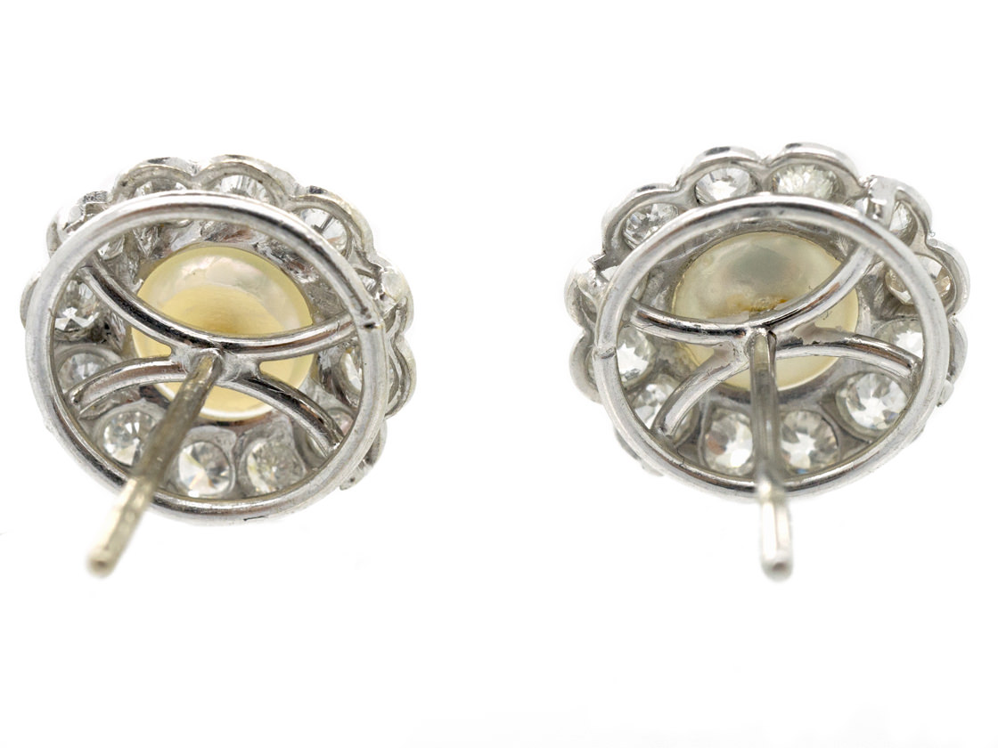 Diamond & Pearl Cluster Earrings