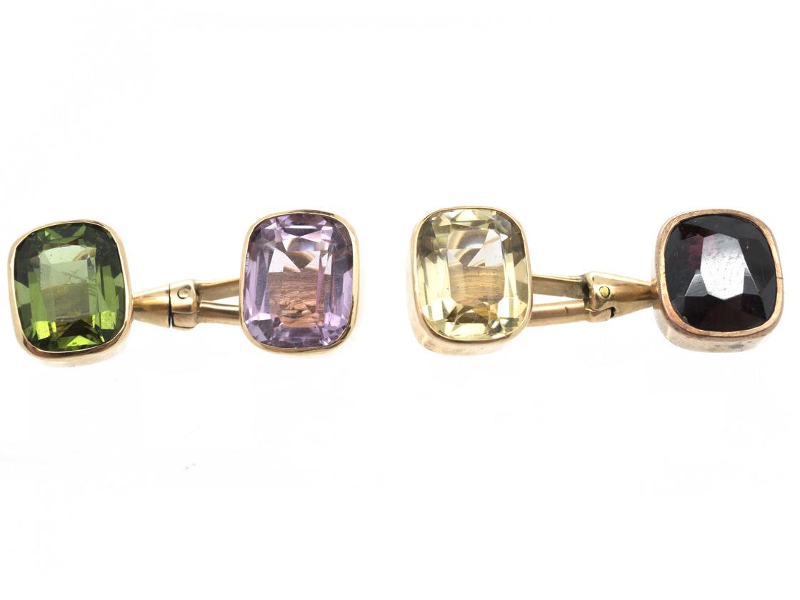 15ct Gold Multi Stone Cufflinks