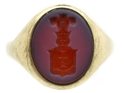 9ct Gold & Carnelian Intaglio of a Crest Signet Ring