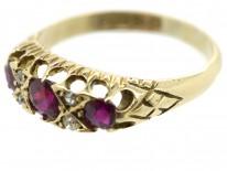 Edwardian 18ct Gold Three Stone Ruby & Diamond Ring