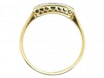 Art Deco Rectangular Cut Emerald & Diamond Ring