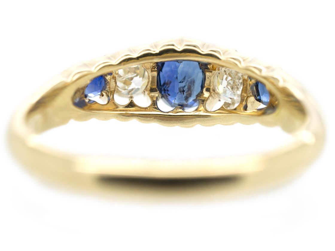 Victorian 18ct Gold Sapphire & Diamond Five Stone Ring