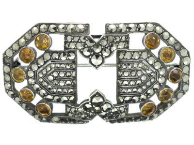Art Deco Silver, Marcasite & Yellow Paste Brooch