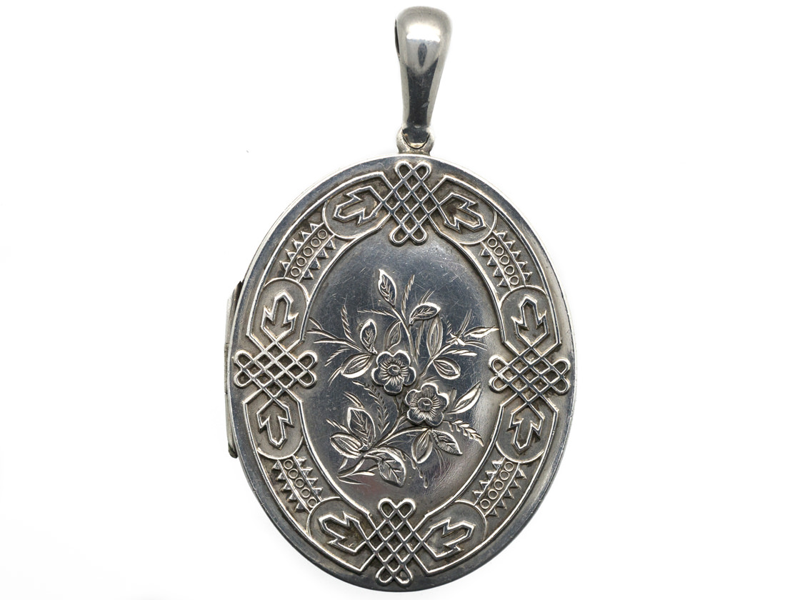 Victorian Silver Locket with Silk of Madonna Inside
