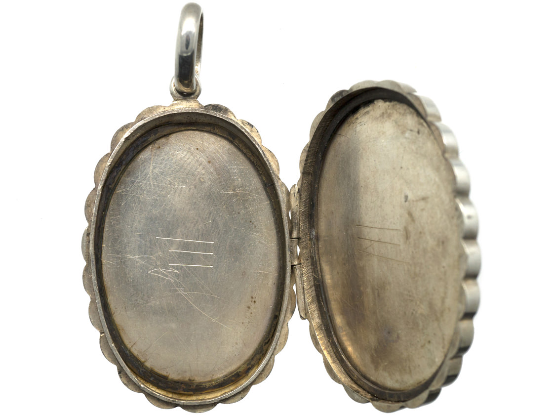 Victorian Silver & Gold Overlay Locket with Butterfly & Branch Motif