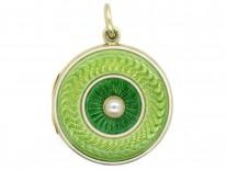 Edwardian 18ct Gold Two Colour Green Enamel & Pearl Round Pendant
