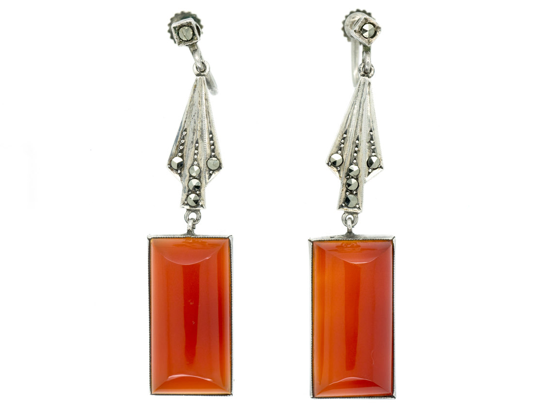 Art Deco Silver, Carnelian & Marcasite Drop Earrings