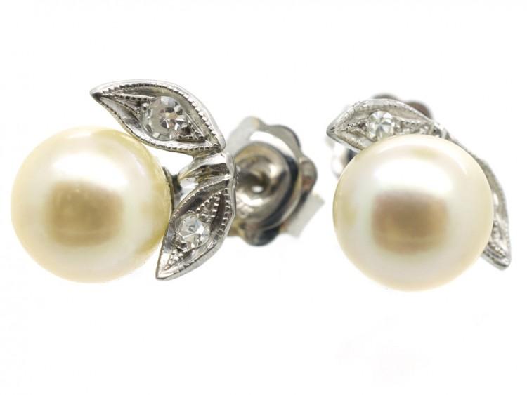 18ct White Gold, Diamond & Pearl Earrings