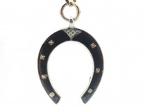 Silver & Niello Chain with Horseshoe Pendant