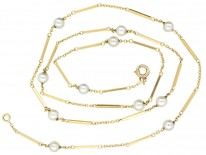 Edwardian 18ct Gold & Pearls Chain
