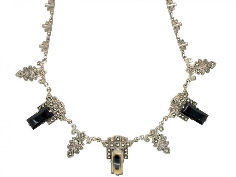 Art Deco Silver, Onyx & Marcasite Necklace