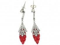 Art Deco Silver, Paste & Bakelite Earrings