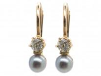 Small Natural Grey Pearl & Diamond Earrings