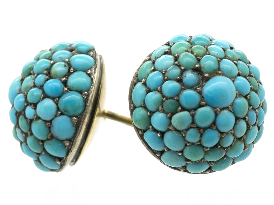 Victorian Round Pave Set Turquoise Earrings