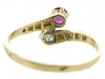 French 18ct Gold Diamond & Ruby Crossover Ring