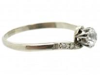 18ct & Platinum Solitaire Diamond Twist Ring