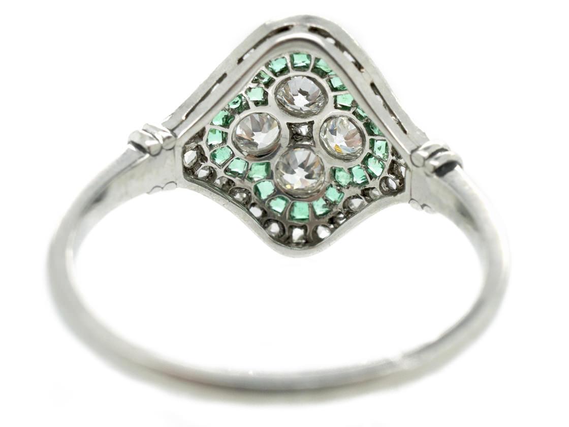 Art Deco Platinum, Emerald & Diamond Cluster Ring