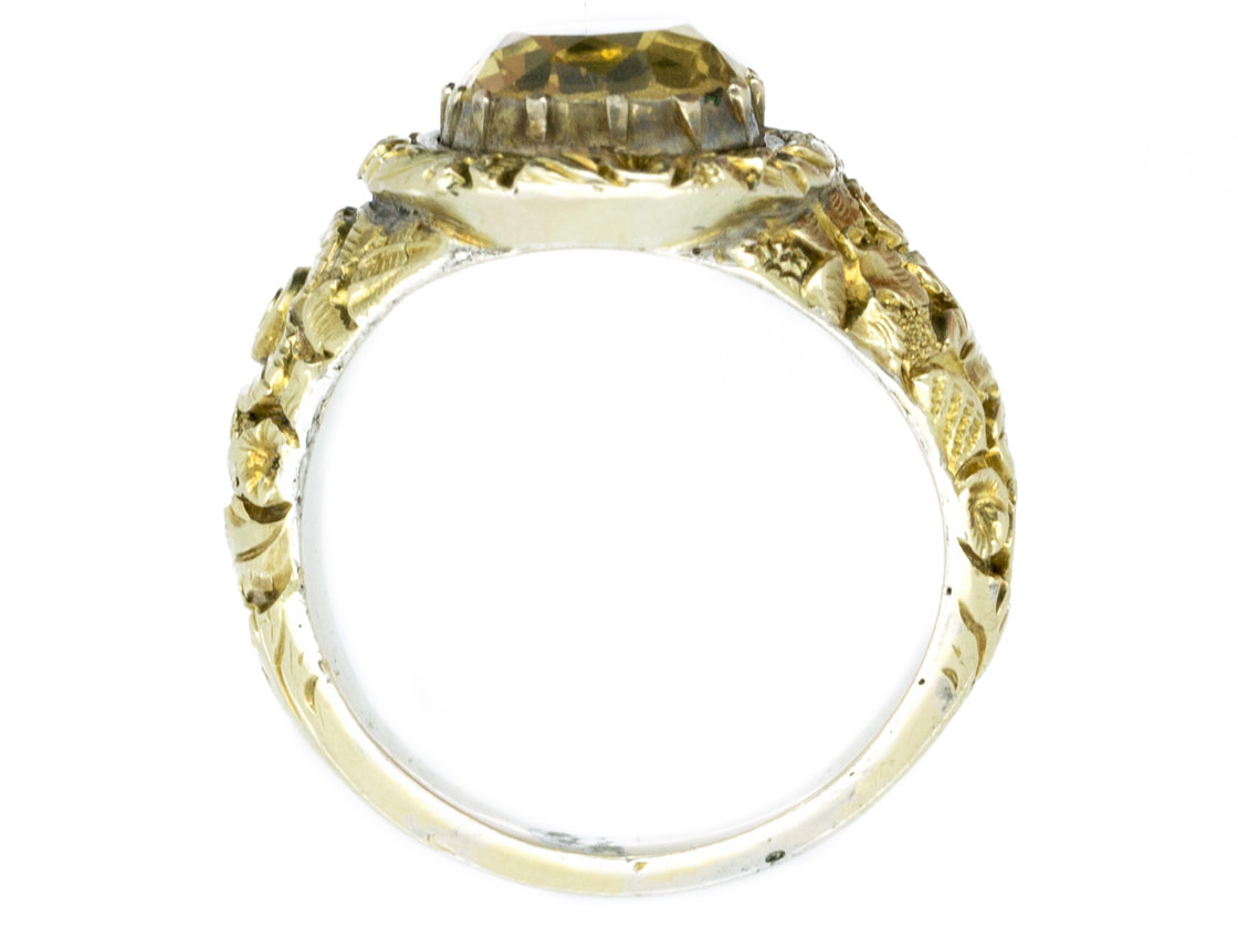 Large 18ct Gold Georgian Foiled Citrine Ring