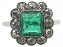 Large Platinum, Square Cut Emerald & Diamond Ring