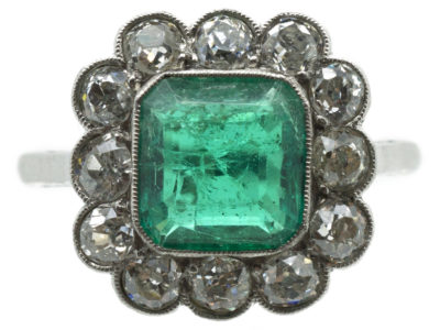 Large Platinum, Square Cut Emerald & Diamond Ring