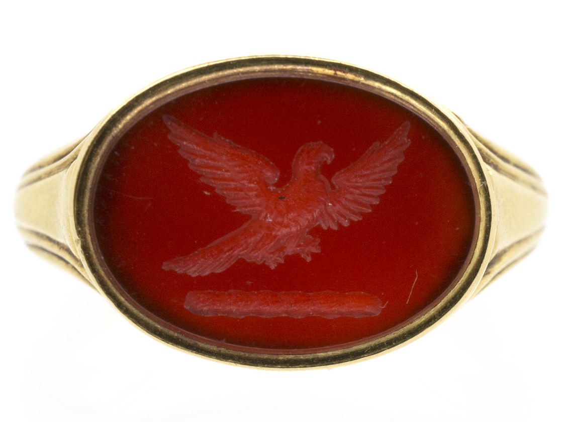 18ct Gold Early Victorian Carnelian Signet Ring with Carved Eagle Intaglio