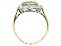 Edwardian Peridot & Diamond Cluster Ring