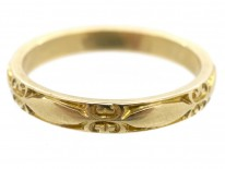 18ct Gold Decorated Wedding Band