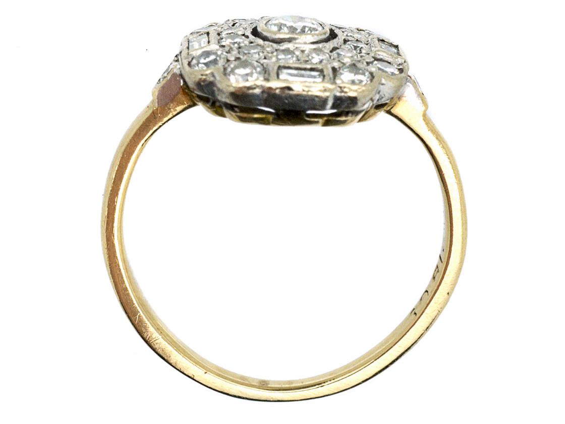 Art Deco 18ct Gold & Diamond Hexagonal Ring