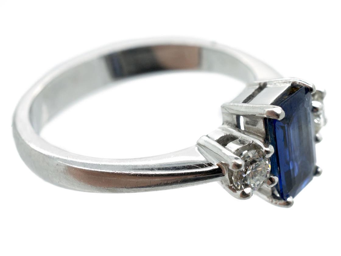 Rectangular Cut Sapphire & Diamond Platinum Ring