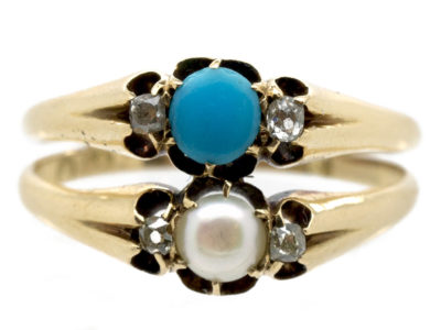Victorian 18ct Gold Double Ring set with Turquoise, Diamonds & A Natural Pearl