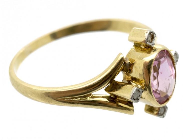 Edwardian Morganite & Rose Diamond 15ct Gold Ring