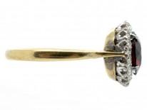 Edwardian Garnet & Diamond Cluster Ring